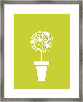 Flower Vase On Kiwi Framed Print by Flavio Coelho