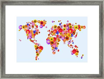 Flower World Map Framed Print by Michael Tompsett