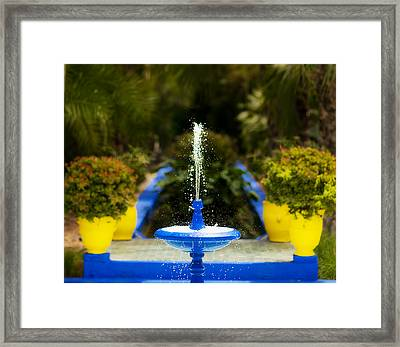 Fountain In Jardin Majorelle Morocco Framed Print by Beth Riser