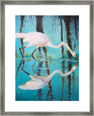 Framed Print featuring the painting Fowl Fishing by AnnE Dentler