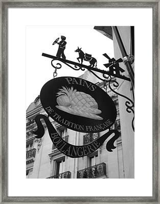 French Bakery Sign - Black And White Framed Print