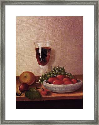 Fruit  And  Wine   A Framed Print by Helen Thomas