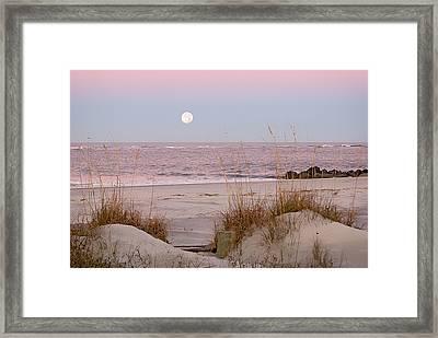 Full Moon Over Folly Beach Framed Print by Vanessa Kauffmann