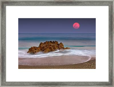 Full Moon Over Ocean And Rocks Framed Print