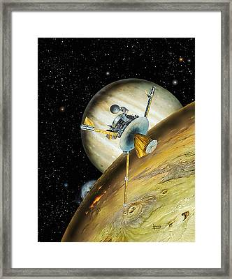 Galileo Spacecraft With Io And Jupiter Framed Print