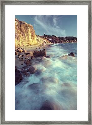 Ghostly Surf On Rocky Beach At Gay Head Framed Print