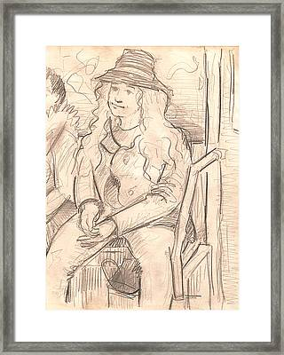 Girl On A Train Framed Print by Al Goldfarb
