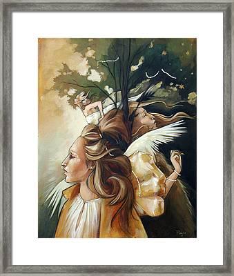 Gold Leaf Mysticism Framed Print by Jacque Hudson