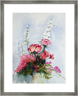 Framed Print featuring the painting Goodbye Bouquet  by Pat Crowther