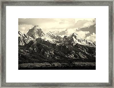 Grand Teton Range In Vintage Light Framed Print by The Forests Edge Photography - Diane Sandoval