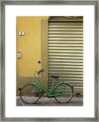 Green Bicycle Framed Print by Patrick English