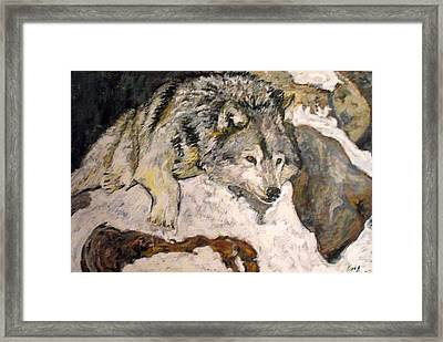 Framed Print featuring the painting Grey Wolf Resting In The Snow by Koro Arandia