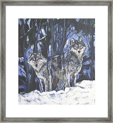 Framed Print featuring the painting Grey Wolves by Debora Cardaci