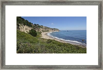Greyhound Rock Beach Panorama - Santa Cruz - California Framed Print by Brendan Reals