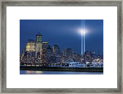 Ground Zero Tribute Lights And The Freedom Tower Framed Print by Chris Lord
