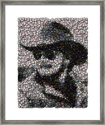 Hank Williams Jr. Bottle Cap Mosaic Framed Print by Paul Van Scott