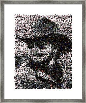 Hank Williams Jr. Bottle Cap Mosaic Framed Print