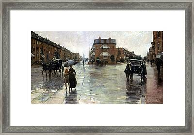 Hassam: Rainy Boston, 1885 Framed Print by Granger