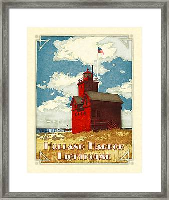 Holland Harbor Lighthouse Framed Print by Antoinette Houtman