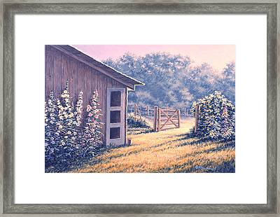 Holly Hocks Framed Print