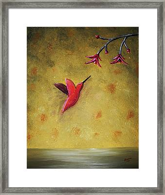 Framed Print featuring the painting Hummingbird by Edwin Alverio