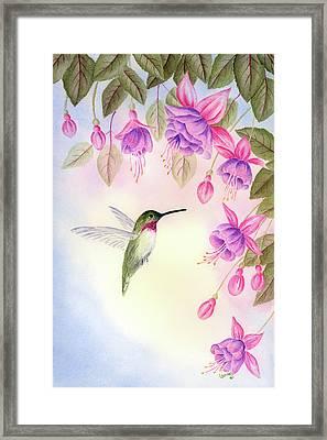 Hummingbird With Fuchsia Framed Print by Leona Jones