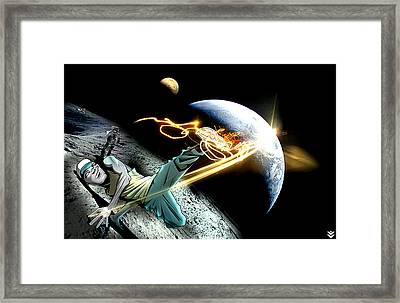 Intergalactic Bboy Framed Print by Jay Reed
