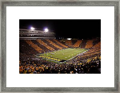 Iowa Black And Gold Stripes At Kinnick Stadium Framed Print by Justin Scott