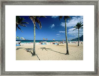 Ipanema Beach With Rainbow Flags Framed Print by George Oze