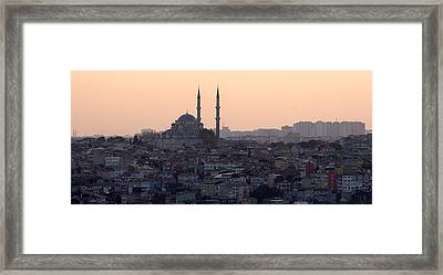 Istanbul Cityscape At Sunset Framed Print