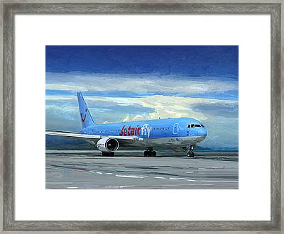 Jetairfly Boeing 767 In Costa Rica Framed Print by Nop Briex