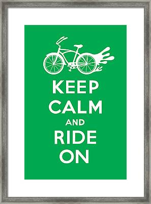 Keep Calm And Ride On Cruiser - Green Framed Print by Andi Bird