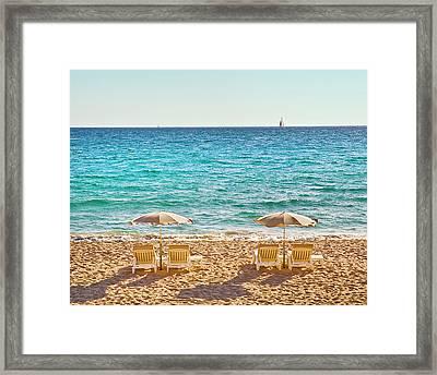 La Croisette Beach, Cannes, Cote D'azur, France Framed Print by John Harper