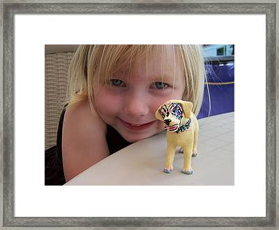 Lacey's Face Painted Dog Framed Print