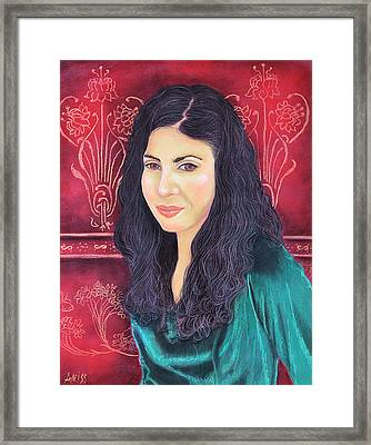 Framed Print featuring the pastel Lauren In Green by Jan Amiss