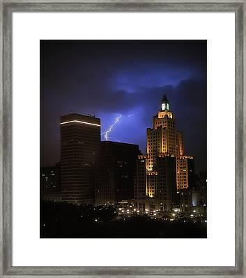 Lightening Over Providence Framed Print by Vicki Jauron