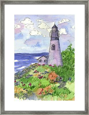 Framed Print featuring the painting Lighthouse In Summer  by Cathie Richardson