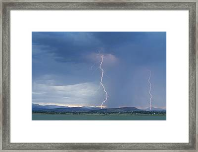 Lightning Striking At Sunset Rocky Mountain Foothills Framed Print