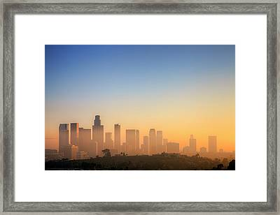 Los Angeles Sunset Framed Print by Eric Lo