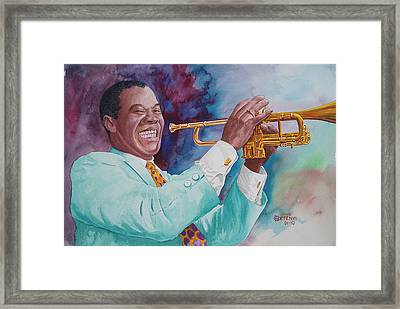 Louis Armstrong Framed Print by Charles Hetenyi