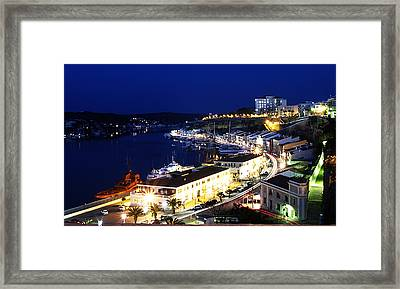 Framed Print featuring the photograph Mahon Harbour At Night by Pedro Cardona