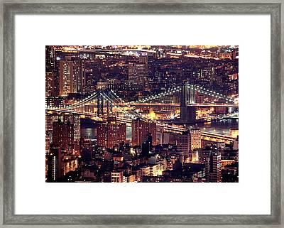 Manhattan And Brooklyn Bridges Framed Print by Rob Kroenert