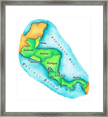 Map Of Central America Framed Print by Jennifer Thermes