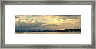 Mare Island Bridge And Cloudscape Framed Print by Steven Wynn