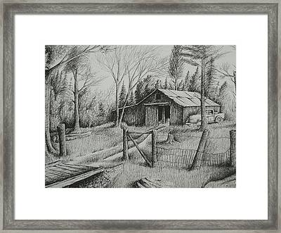 Ma's Barn And Truck Framed Print by Chris Shepherd
