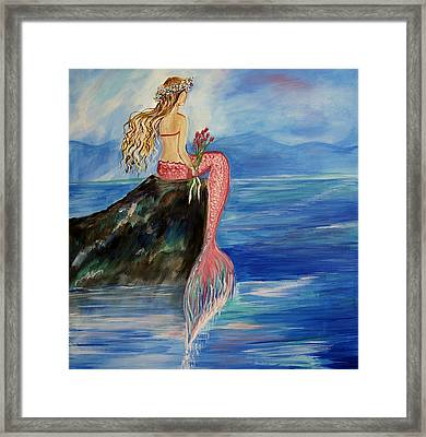 Mermaid Wishes Framed Print by Leslie Allen