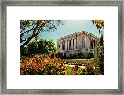 Mesa Temple Sun Glow Framed Print