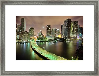 Miami Skyline At Night Framed Print by Steve Whiston - Fallen Log Photography