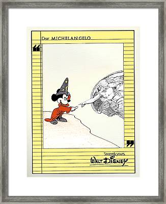 Michelangelo's Creation Of Mickey Framed Print by Turtle Caps