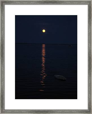 Moon At Province Town Framed Print by Oscar Rodriguez